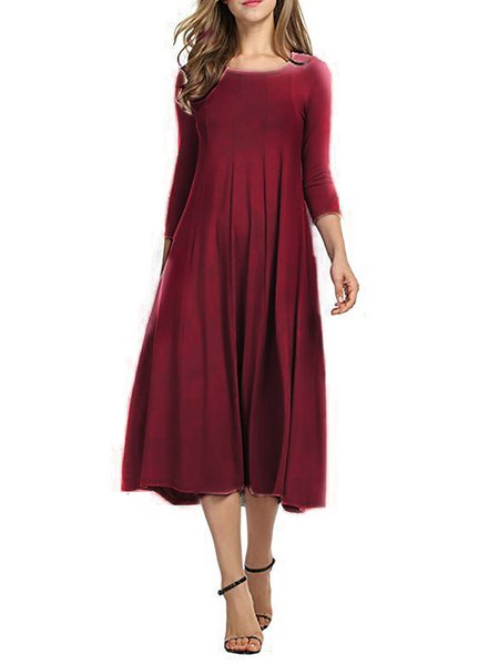 Casual Cotton Crew Neck Swing 3/4 sleeve High-rise Dress