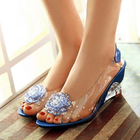 Flower Wedge Heel Peep Toe Jelly Shoes