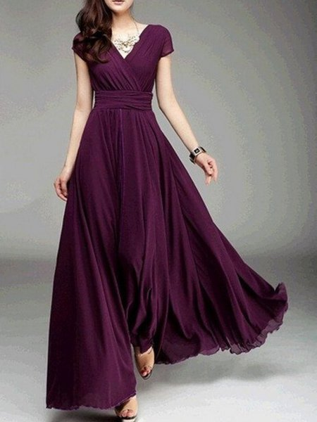 Women Prom Dress Surplice Neck A-line Going out Boho Solid Dress