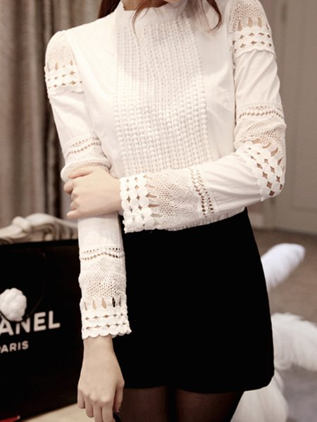 Stand Collar Crocheted Long Sleeve Casual Blouse