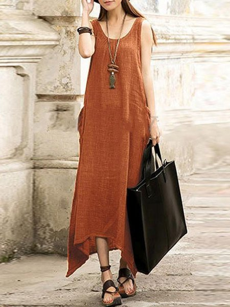 Solid Casual Pockets Sleeveless Dresses