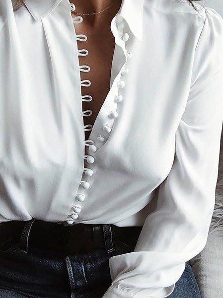 Buttoned Shawl Collar Long Sleeve Shirts