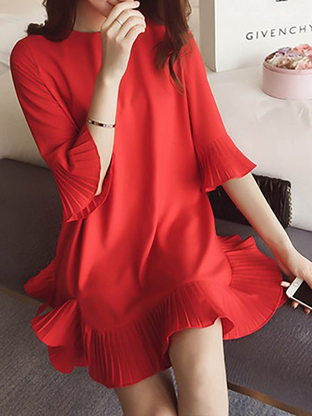 Women Casual Dress Crew Neck A-line Daytime Elegant Paneled Dress