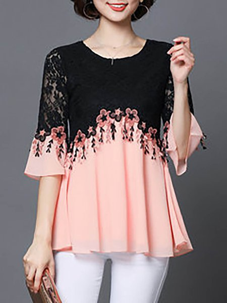 Lace Patchwork Embroidery Elegant Half Sleeve T-Shirt