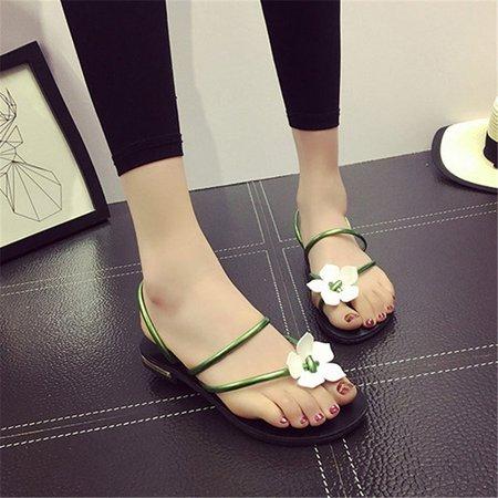 Flower PU Daily Flat Heel Slippers Sandals