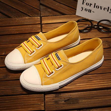 Yellow Women's Flat Fabric Slip-On Fashion Sneaker