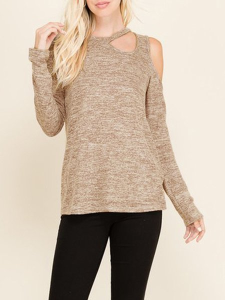 Long Sleeve Cold Shoulder Casual T-Shirt