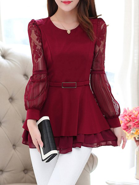 Elegant Paneled Long Sleeve Blouse