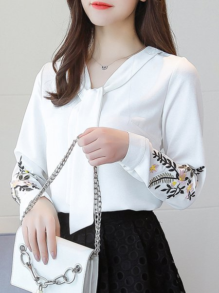 Long Sleeve Chiffon Floral-embroidered Tie-neck Casual Blouse