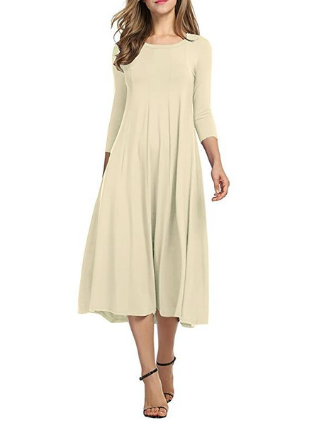 Women Elegant Dress Crew Neck Daily 3/4 Sleeve Cotton Dress