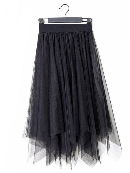 Asymmetric Statement Plain Polyester Skirt