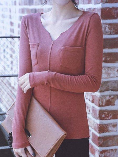 Dark Green Long Sleeve V Neck Pockets Women's Tops