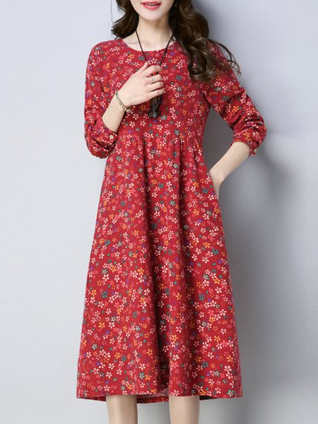 Women Print Dress Crew Neck Daily Long Sleeve Printed Dress