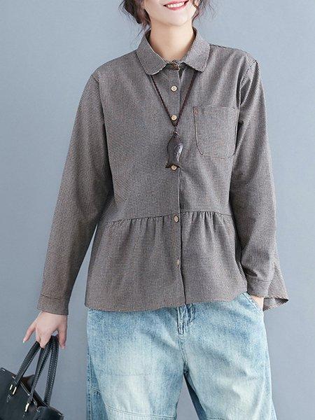 Long Sleeve Gingham Buttoned Linen Blouse