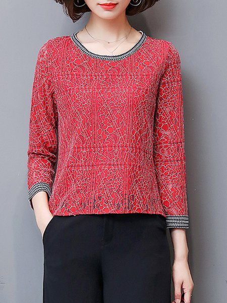 Long Sleeve Guipure Lace Casual Plus Size Blouse
