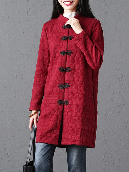 Long Sleeve Stand Collar Vintage Embossed Coat