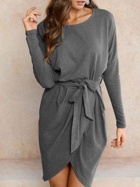 Women Casual Dress Crew Neck Asymmetrical Daily Long Sleeve Solid Dress