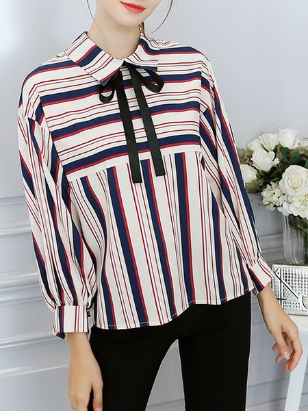Stripes Batwing Casual Tie-neck Blouse