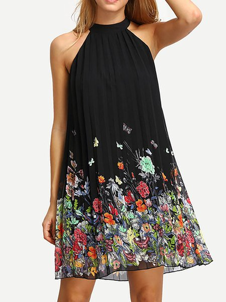 Black Women Print Dress Date Paneled Floral Dress