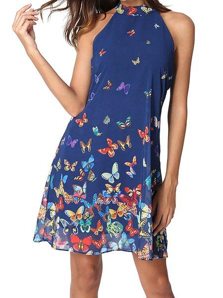 Blue Women Print Dress Halter A-line Daily Casual Animal Dress