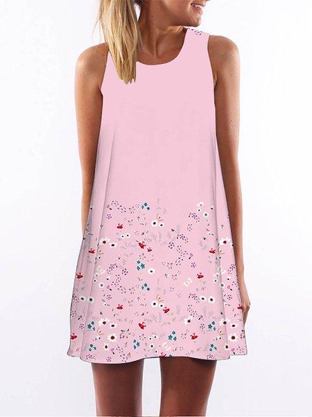 Pink Women Print Dress Crew Neck Sleeveless Paneled Dress