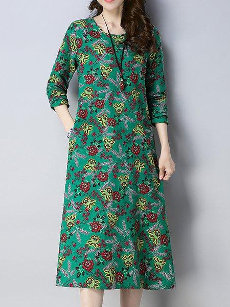 Women Print Dress Crew Neck A-line Daily Long Sleeve Striped Dress