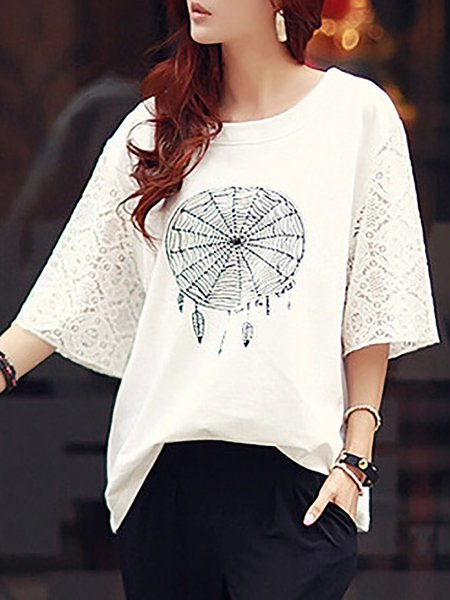 Casual Solid Printed Short Sleeve T-Shirt