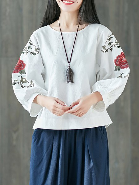 Long Sleeve Embroidery Crew Neck T-Shirt