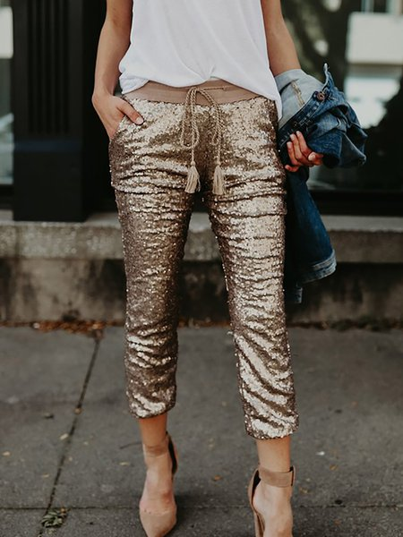 Golden Paneled Casual Pants