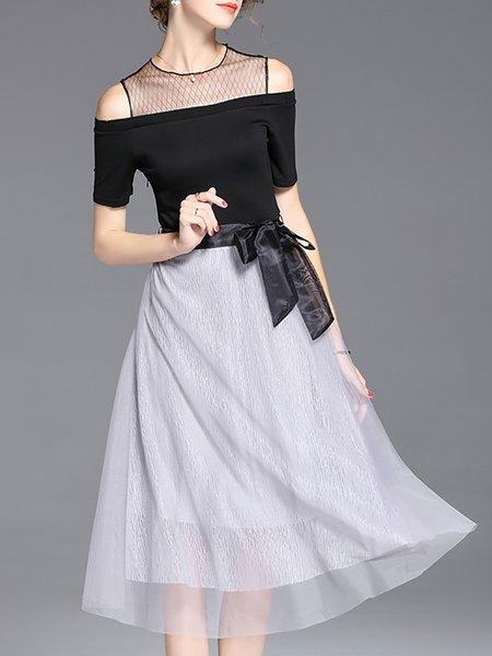 Black Women Prom Dress Crew Neck A-line Daily Sleeveless Cotton Dress