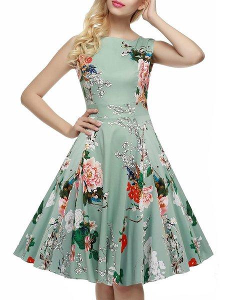 Light green Women Vintage Dress Crew Neck Swing Cotton Floral Dress