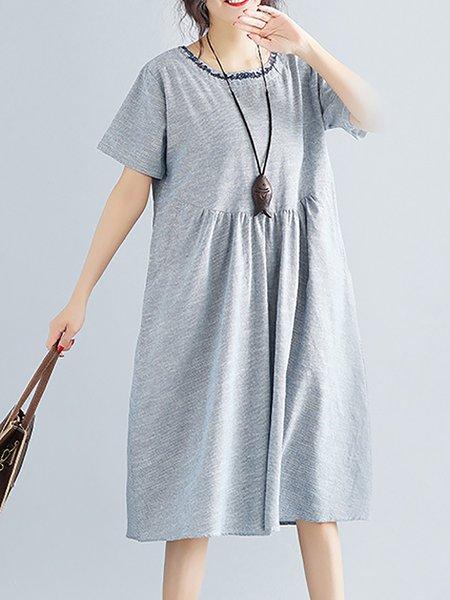 Gray Women Casual Dress Crew Neck A-line Short Sleeve Cotton Dress