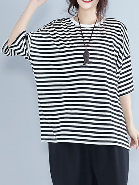 Black-white Half Sleeve Stripes T-Shirt