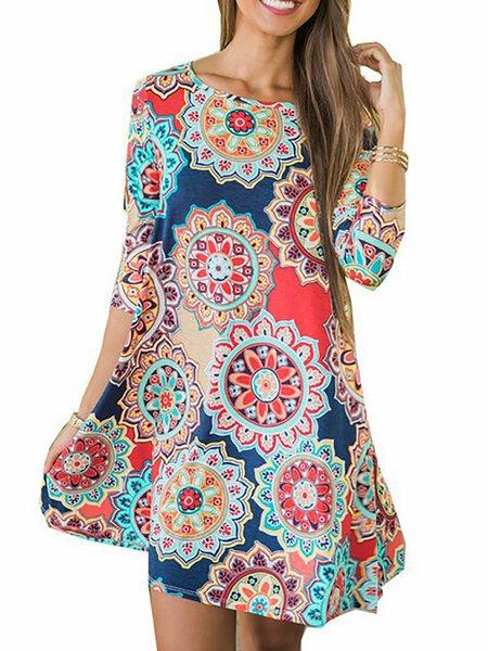 Women Print Dress Crew Neck A-line Cotton Floral Dress