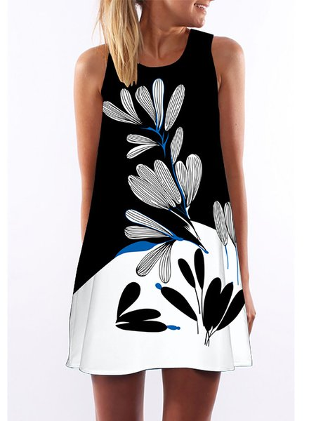 Black Women Casual Dress Crew Neck Going out Printed Floral Dress