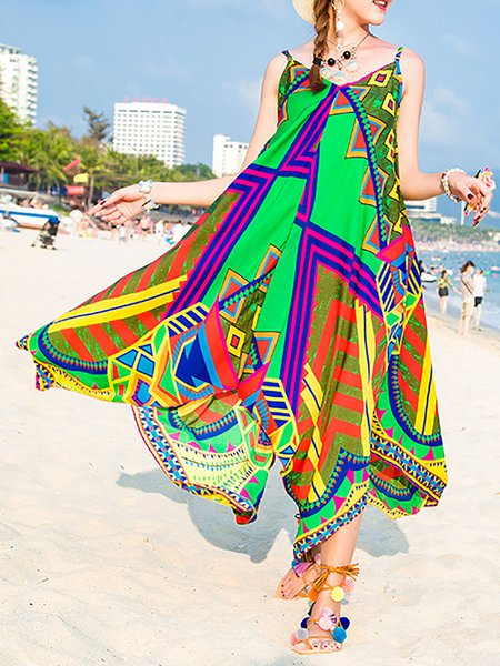 Green Women Print Dress V neck Asymmetrical Beach Spaghetti Paneled Dress
