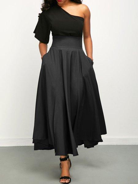Women Prom Dress One Shoulder Swing Cotton-blend Paneled Dress