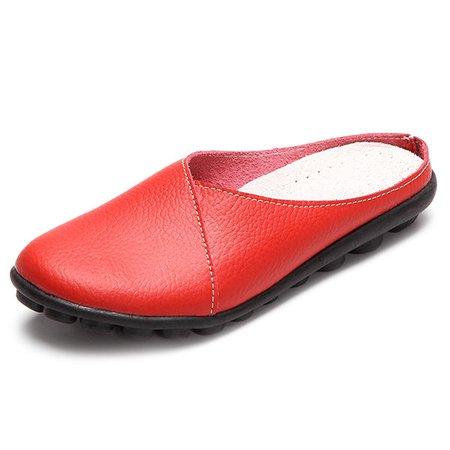 Slip-On Women's Leather Slippers