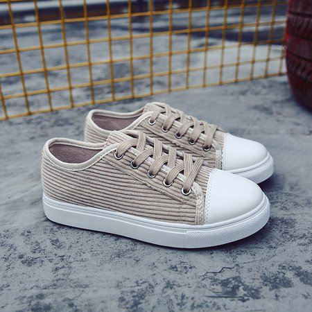 Flocking Flat Heel Casual Lace-up Sneakers