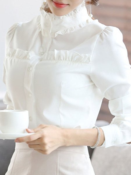 Chiffon Long Sleeve Ruffled Elegant Blouse
