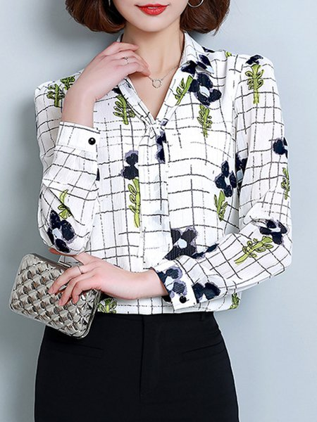 Floral Long Sleeve Bow Chiffon Elegant Blouse