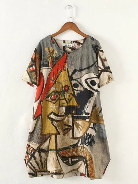 Women Print Dress Crew Neck A-line Daily Casual Abstract Dress
