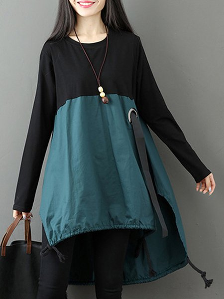 Women Casual Dress Crew Neck High Low Casual Cotton Dress