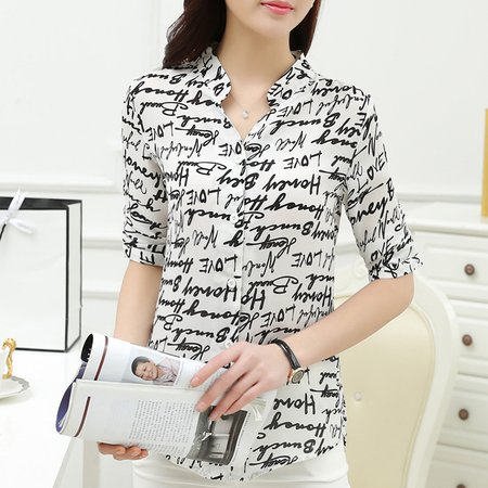 High Low Stand Collar Printed 3/4 Sleeve Blouse