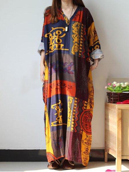 Women Print Dress V neck Shift Daytime Long Sleeve Printed Dress