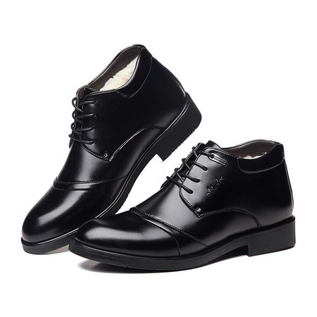 Warm Non-slip Lace-up Low Heel Artificial Leather Formal Shoes