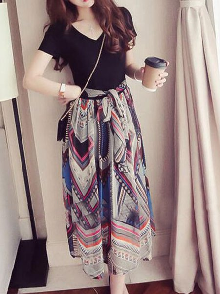 V neck Multicolor Women Casual Dress A-line Going out Paneled Abstract Dress