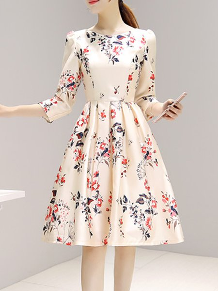 Multicolor Women Prom Dress A-line Party 3/4 Sleeve Printed Dress