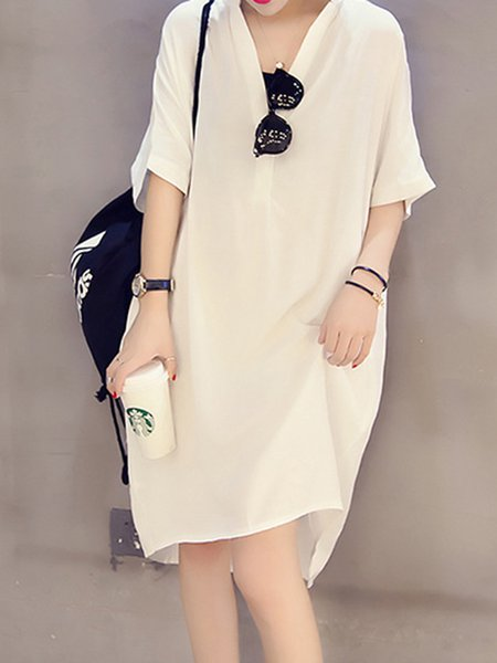 Women Casual Dress V neck Shift Daytime Casual Solid Dress