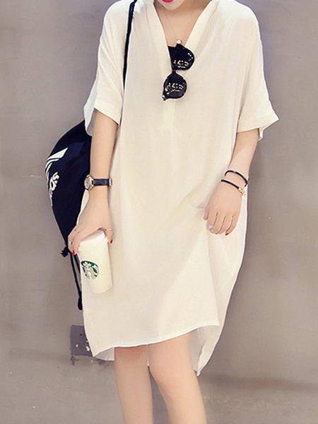 Shift Women Daytime Half Sleeve Cotton-blend Paneled Solid Casual Dress